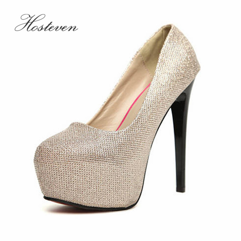 Hosteven Women's Pumps Shoes Fashion Female Ladies Woman Sexy Round Toe High Heels 14cm High Heel Shoes Size 34-39 hosteven high heels women s shoes woman ladies pumps thin heels footwear woman sexy leopard sandals shoes plus size 34 44
