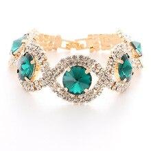 Luxury Blue Crystal Bracelet For Wedding Silver Rhinestone Charm Women Bangles Jewelry Gifts