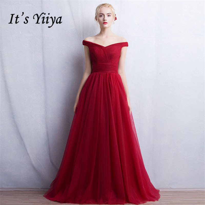 It's Yiiya   bridesmaid     dresses   Red Clare Pink Strapless Formal   Dresses   Sex Long Customized   Bridesmaid   Gowns Frocks   Dress   YA003