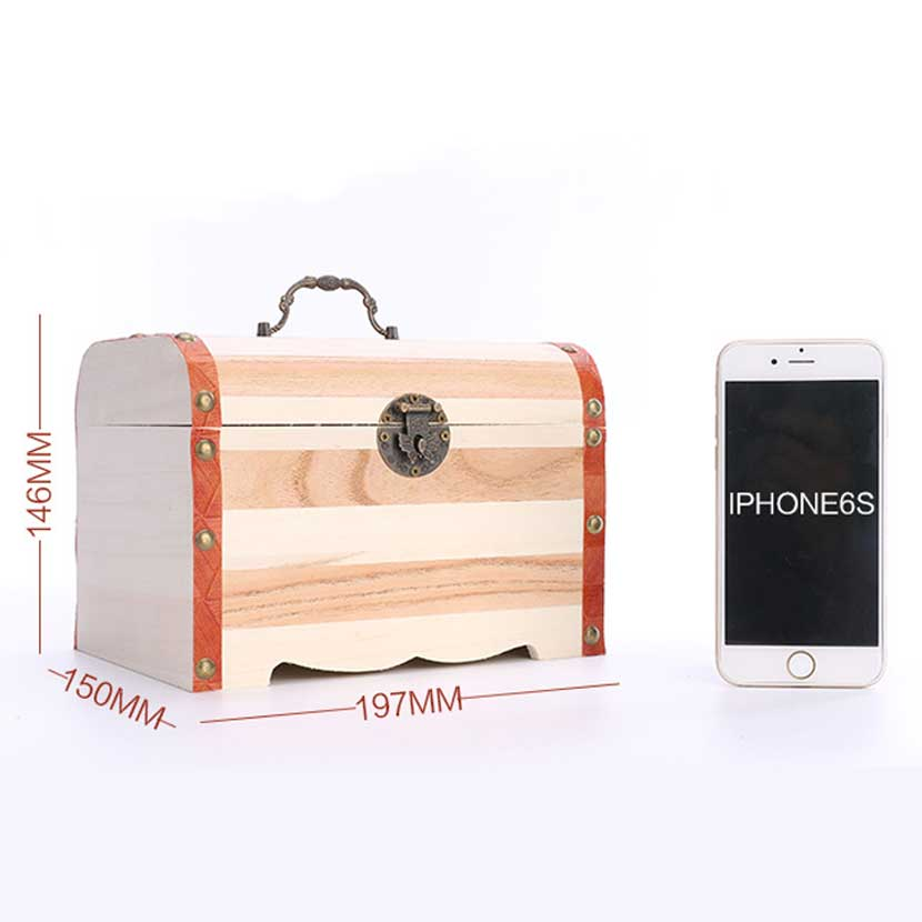 Wooden Treasure Chest With Lock Piggy Bank Coin Safe Box Large Wooden Storage Box Variety Of Optional 197*150*146MM the football game comes to coin money toy box pastic coin cases hidden safe kids piggy bank money toy game bank safe magic jbzq