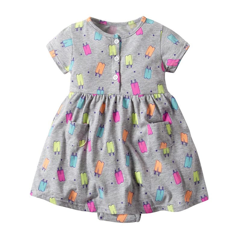 Cute New Toddler Kid Baby Girl Short Sleeve Floral Dress Princess Romper Dresses Colored Ice Cream Printing Romper Clothes