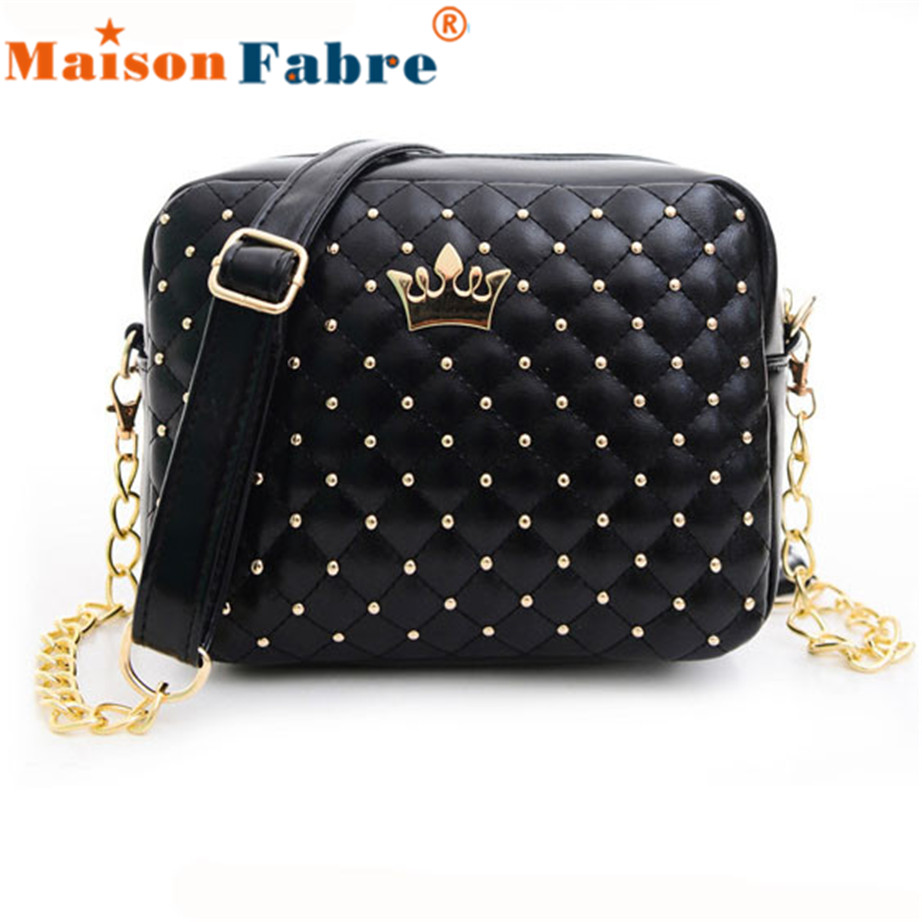2017 Luxury Brands Women Bag Fashion Women Messenger Bags Rivet Chain Shoulder Bag High Quality PU Leather Crossbody Quiled #2