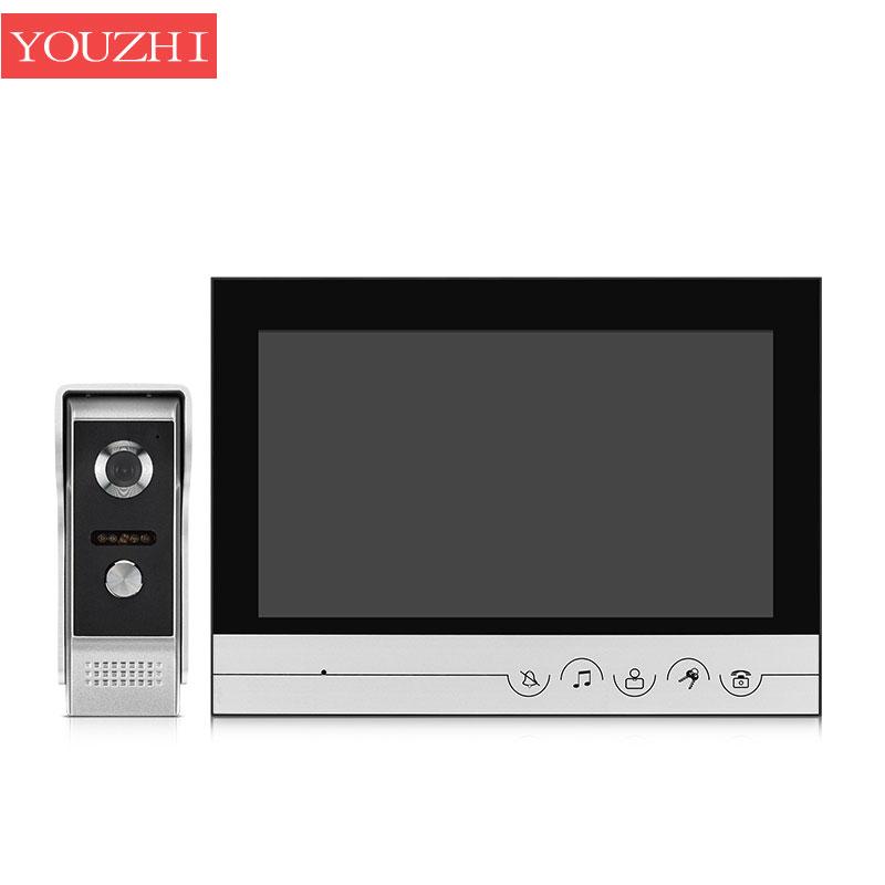 9 inch video Intercom TFT LCD Wired Video Door Phone audio Intercom Outdoor Door bell with 700TVL CMOS Camera Monitor YOUZHI 7inch video door phone intercom system for 5apartment tft lcd screen 5 flat indoor monitor with night vision cmos outdoor camera