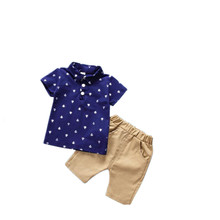 AJLONGER Summer Toddler Boy Clothes Set Casual Print Shirt Tops+Shorts Fashion Clothing