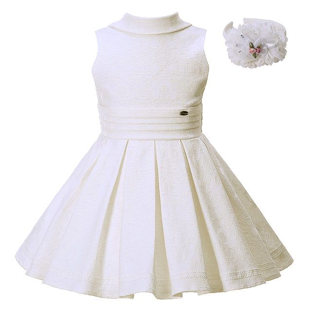 0f415b765 Pettigirl Creamy white Girls Summer Dress With Flower Headband ...