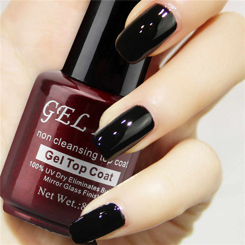 Glossy No Wipe Top Coat Gel 8ml Mirror Glass Finish Nail Art Gel Non Cleanse Top Coat Gel Varnish Gel Len Non-sticky Nail Polish