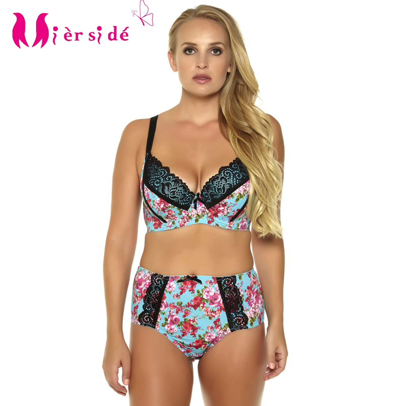 Mierside Plus Size Big Bright Bra Set Printing Push up Bra Women Lace Comfortable Everyday Underwear Bralette 34-46CD/DD/DDD/E/F