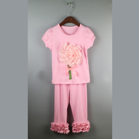 pink girls home suit comfortable shirts dress fashion ruffles pants outfit