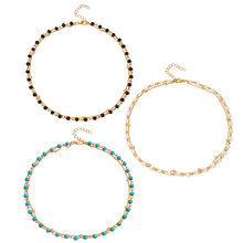 3 Pcs/ Set Personality Simple Bead Choker Necklace Women Fashion Layered Clavicle Chain Collar Jewelry