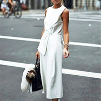 Black white color women jumpsuits loose style casual fashion female jumpsuits