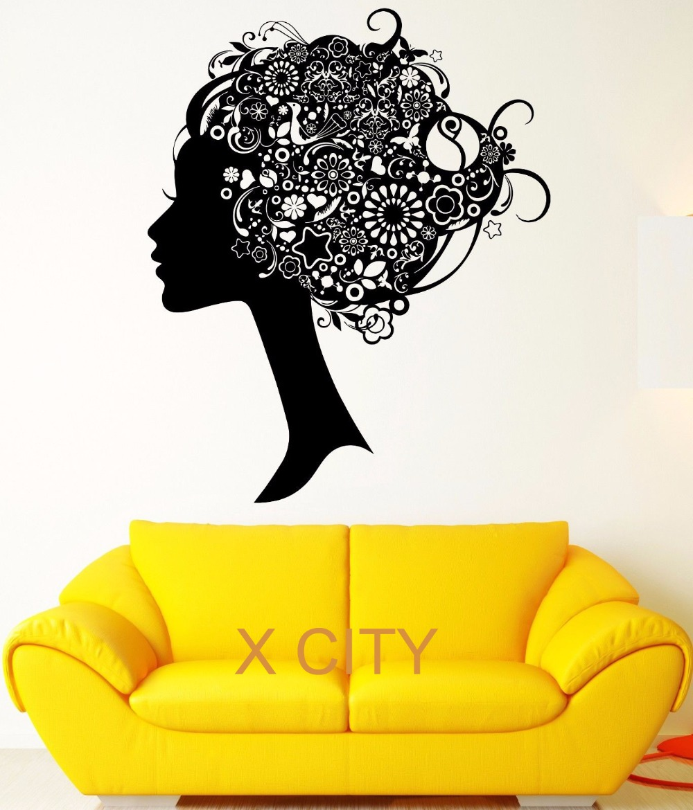 Black Wall Decal Girl Hair Fussy Ornament Flower Beauty Pattern ...