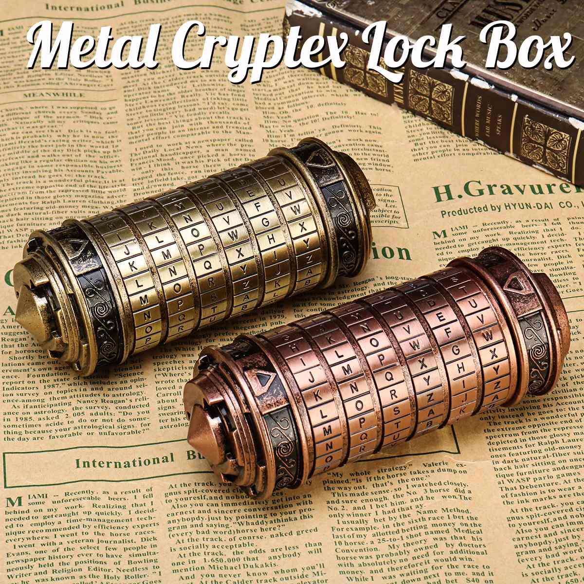 Rétro métal Vinci Code mot de passe Cryptex serrure boîte Mini mariage saint valentin cadeaux romantiques lettre mot de passe accessoires Science jouet - 2