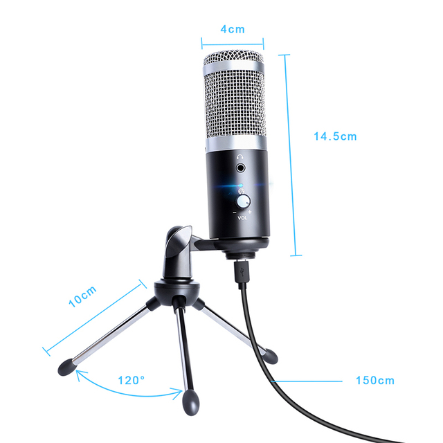 Professional Microphone Condenser for Computer PC USB Plug +Tripod Stand YouTube Broadcasting Recording Microfone Karaoke Mic 1