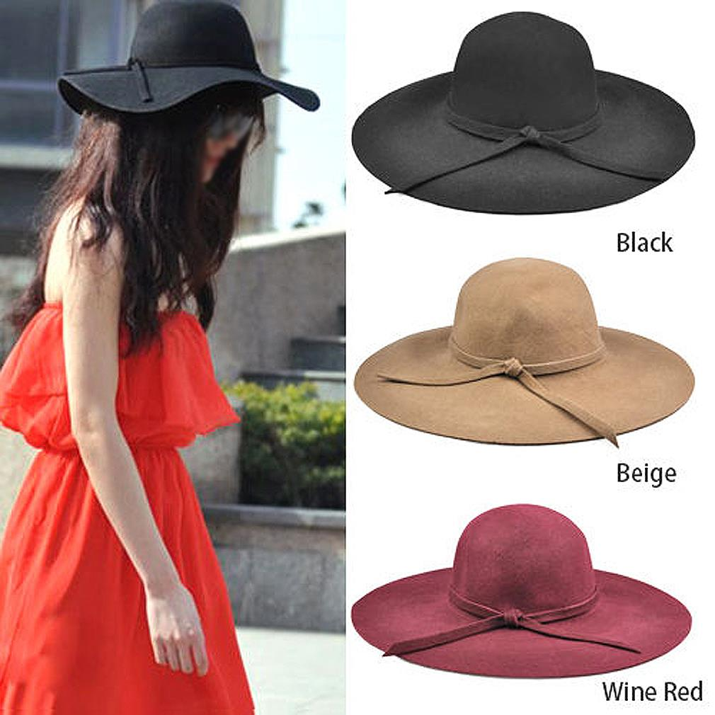 9bd2c4e03 US $5.25 |NEW 100% pure wool caps fedoras Hofn's stetson beach floppy wide  brim sun hat foldable with tie for women autumn summer MYPF-in Sun Hats ...