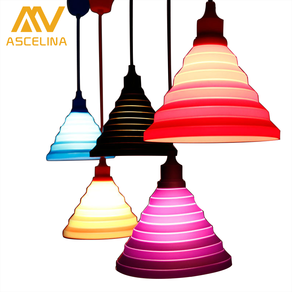 Modern Colorful Pendant Lamps Bar Restaurant 9 Colors Silicone E27 Pendant Lights Holder with 100cm cord Decoration lighting modern e27 colorful silicone lamp holder 220v pendant lights 12 color pendant lights 100cm cord ceiling base for dinning room