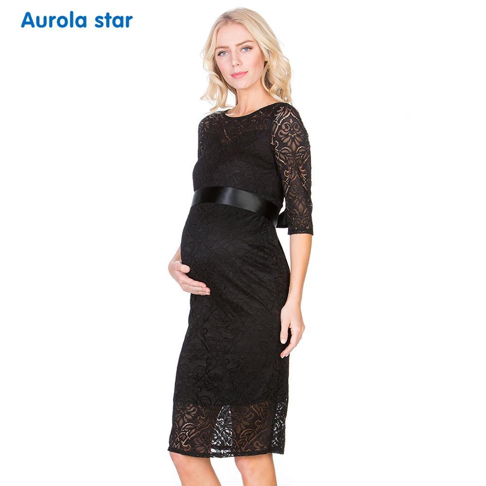 Новое кружевное платье для беременных Элегантный Повседневное Половина рукава вечернее платье для беременных Для женщин Лодка шеи белый Б...
