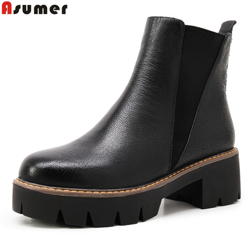 ASUMER Plus size 34-43 new fashion genuine leather ankle boots round toe platform shoes women autumn winter riding boots shoes free shipping women fashion winter shoes genuine leather ankle boots wedges female winter working boots plus size 34 41