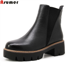 Plus size 34-43 new fashion genuine leather ankle boots round toe platform shoes women autumn winter riding boots shoes