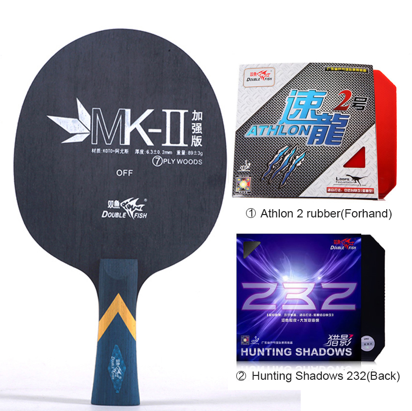 Double fish MK-II 7-PLY professional Carbon fiber table tennis rackets racquet paddle with ITTF approved rubber stable loops аксессуар moon mk ii