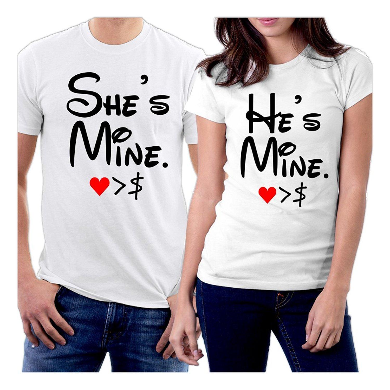 Gildan tshirt she 39 s mine he 39 s mine heart dollar couple t for 6 dollar shirts coupon code free shipping