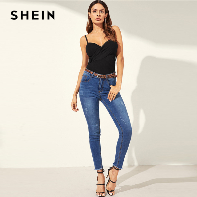 SHEIN Sexy Black Cross Wrap Fitted Camisole Slim Fitted Top Women Summer Straps V Neck High Street Club 2019 Solid Basics Camis 4