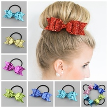 20pcs Plain PU Faux Litchi Stria Leather Hair Band Hair Bows Multi Level Elastic Headbands Synthetic Headbands hair ring Kids