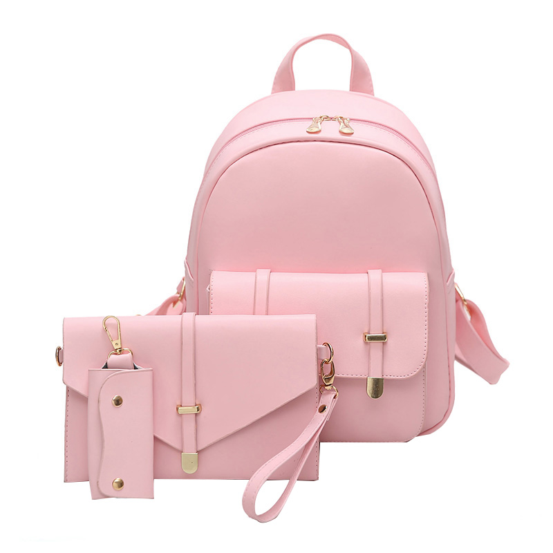 3Pcs/Set Small Women Backpacks School Bags For Teenage Girls Black PU Leather Women Backpack Shoulder Bag Purse Sac A Dos