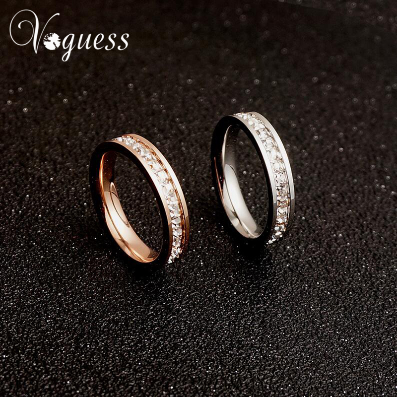 VOGUESS Hot Sell Promised Ring 316L Stainless Steel Engagement Rings Titanium Steel CZ Rings Wholesale Price