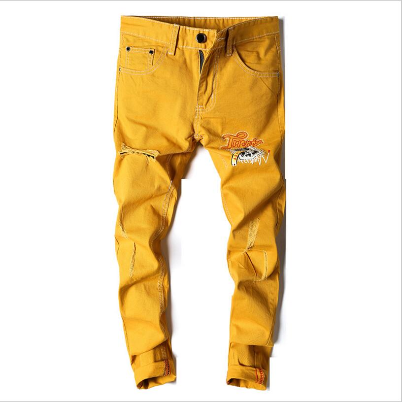 Men Skinny Jeans Yellow Denim Jean Pants Good Quality Men Stretch Slim Long Jeans High Street Style Fashion Jeans
