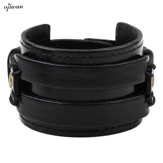 Leather Cuff Bracelet Men Jewellery Pulseras Hombre Punk Armband Las Charm Homme Accesorios Para
