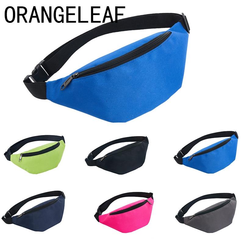Oxford Waterproof Women Fanny Pack Two Pocket Nylon Female Waist Bag Solid Color Bum Bag Belt Bag Zipper Pouch Packs 110cm Belt