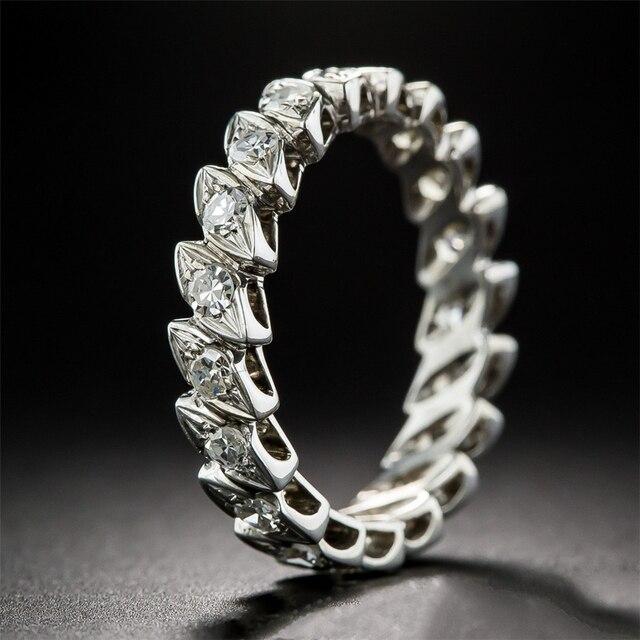LASAMERO Круглый 2 БКМ Moissanites Лаборатория Grown Алмаз 14 К Белое Золото Античная Проложить Вечность Обручальное Кольцо
