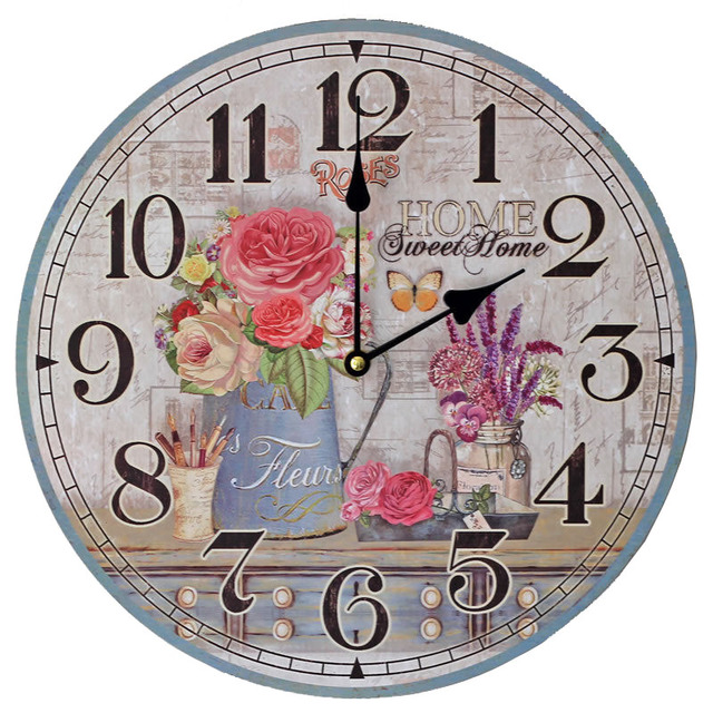 Attractive 2017 Pastoral Design Wall Clock Round Shape Flowerpot Pattern Quartz Silent  Clock Home Kitchen Bedroom Decoration