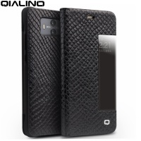 QIALINO For Huawei Mate 10 Cover Coque Dragon Scale Grain View Window Cowhide Leather Smart Case