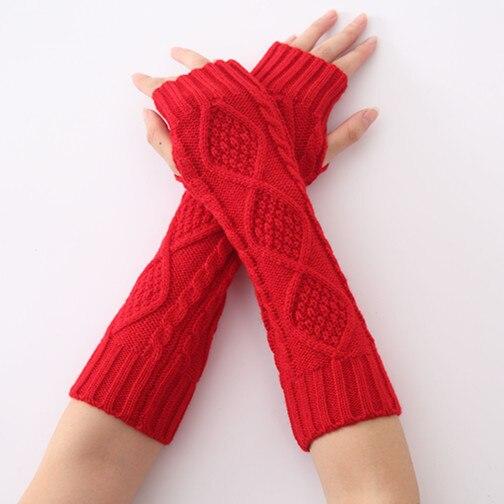 Damen-accessoires Neue Winter Jacquard Rhombus Geformt Gestrickte Wolle Und Halb Finger Handschuhe Arm Wärmer 1 Paar Gute WäRmeerhaltung