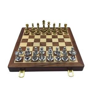 Image 3 - Easytoday jeu déchecs professionnel, pièces brillantes, en métal doré et argenté, échiquier pliant en bois massif de haute qualité