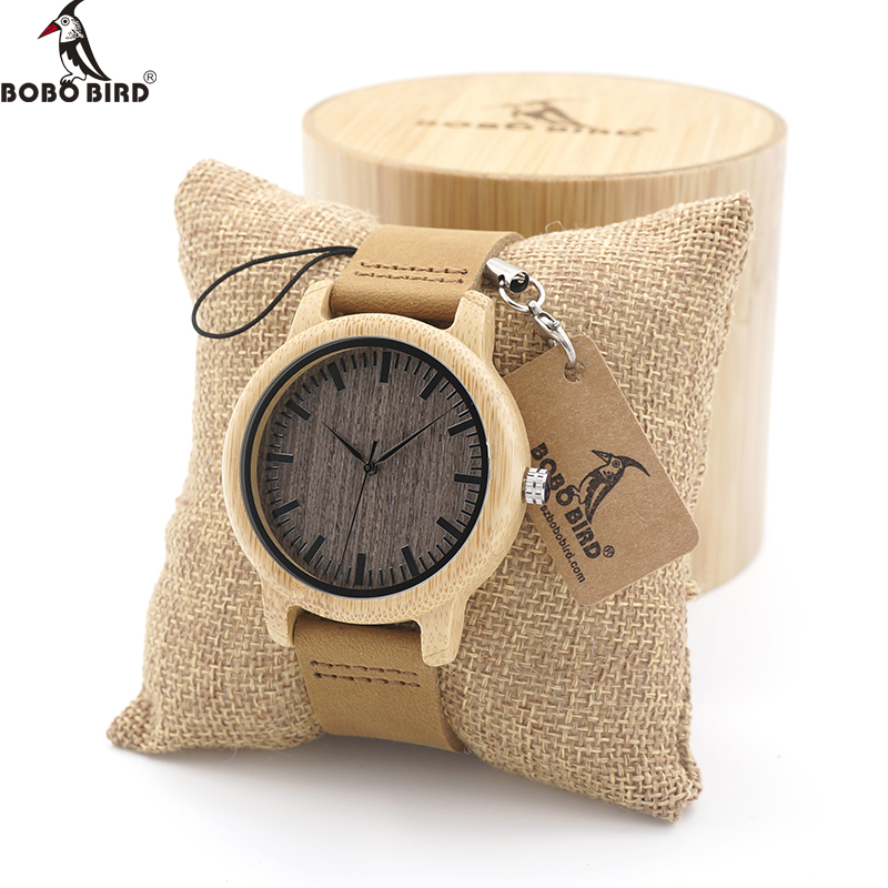 BOBO BIRD High Quality Handmade Bamboo Wood Watches With Real Leather Band in Gift Box Mens Watches