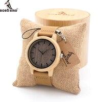 Bobo Vogel Hoge Kwaliteit Handgemaakte Bamboe Hout Horloges Met Echte Lederen Band In Geschenkdoos Heren Horloges-in Quartz Horloges van Horloges op