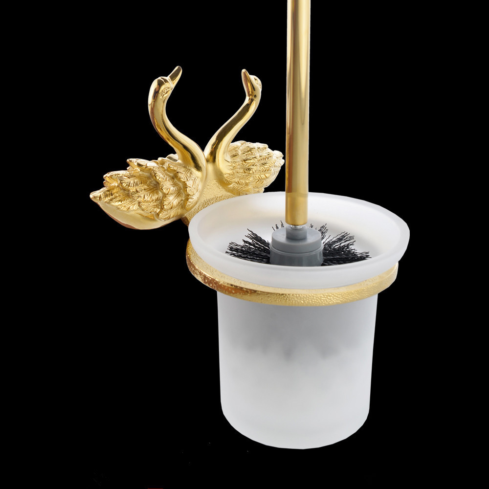 Toilet Brush Holder Gold Solid Brass Frosted Glass Cup Swan WC Borstel Clean Wall Bathroom Accessories Toilet Brush Set MB-0961A antique brass artistic bathroom toilet brush holder
