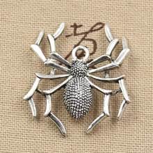 8 шт. Подвески паук Хэллоуин 35x32 мм подвеска ручной работы, винтажная тибетская бронза, DIY для браслета ожерелья