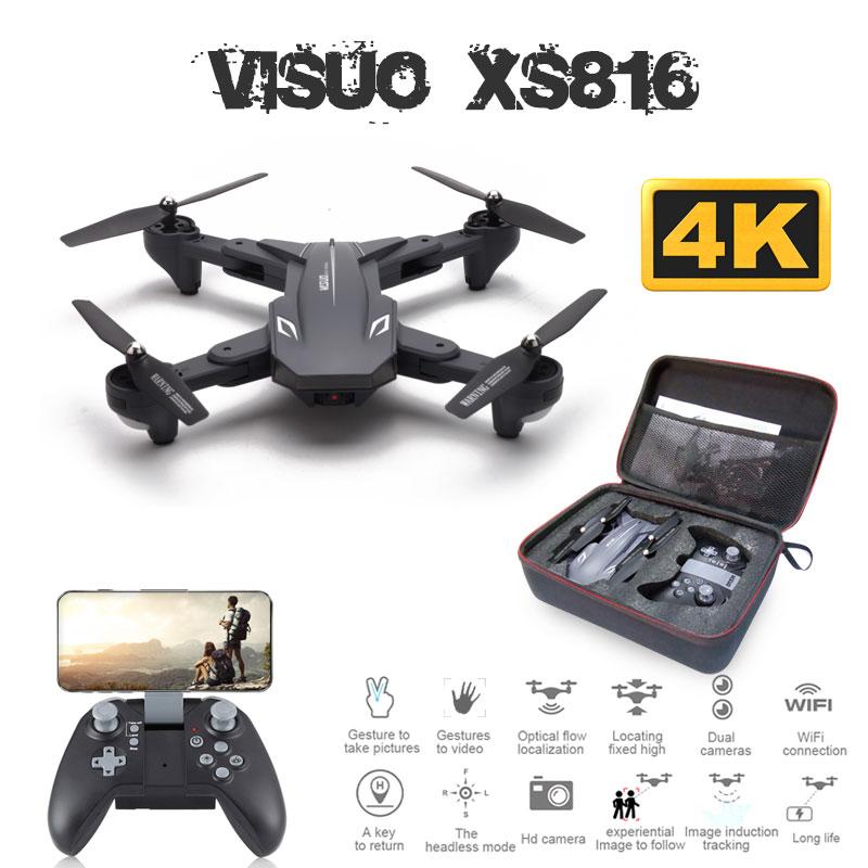 Visuo XS816 Drone avec 50 fois Zoom WiFi FPV 1080P ou 4K double caméra débit optique quadrirotor pliable Selfie Dron VS SG106