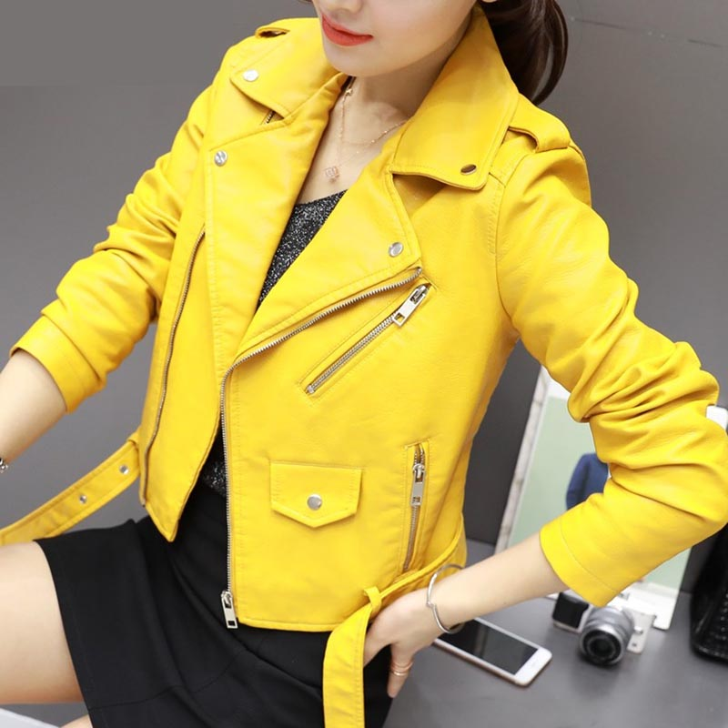 Pu   Leather   Jacket Women Fashion Bright Colors Yellow Motorcycle Coat Short Faux   Leather   Zipper Biker Jacket Soft Jacket Female