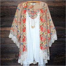 Women Chiffon Vintage Kaftan Cardigan Print Tops Blouse Beach Cover Up Lace Tassel Long Sleeve  Kimono Shirt Summer