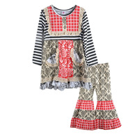 CONICE NINI Girls Outfits New Arrival Baby Print Pattern with Pocket Swing Top Ruffle Cotton Pants Fall Clothes  Set F075