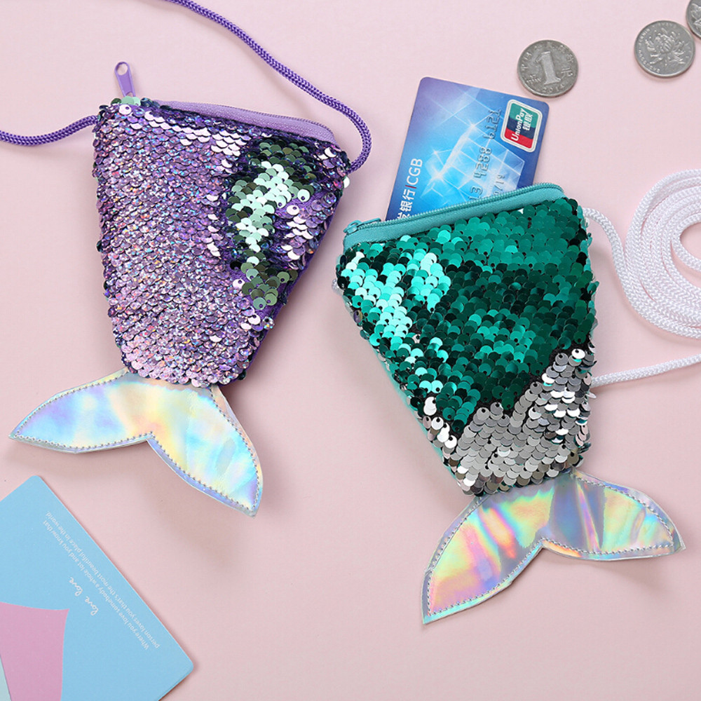 Mermaid Tail Sequins Coin Purse Women Mini Wallets Small Crossbody Bag Girls 2019 Long String Wallet Children Money Card bag