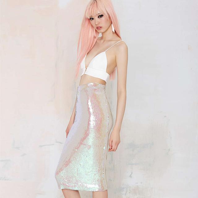 Moda rosa Doce do vintage paillette médio saia cinto elástico apertado de cintura alta magro quadril busto saia frete grátis