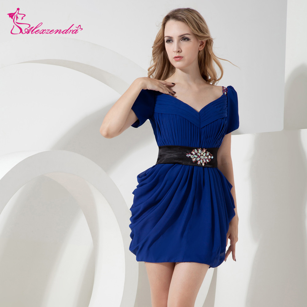 Alexzendra V Neck Pleats Cap Sleeves Royal Blue Mini   Prom     Dresses   Customize Special Party Gowns