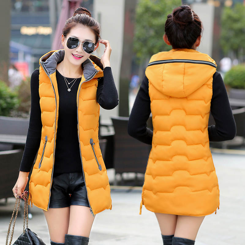 Autumn Winter Vest Women Waistcoat 2018 Female Sleeveless Jacket Hood Warm Long Vest Jacket Colete Feminino Plus Size 5XL C3727