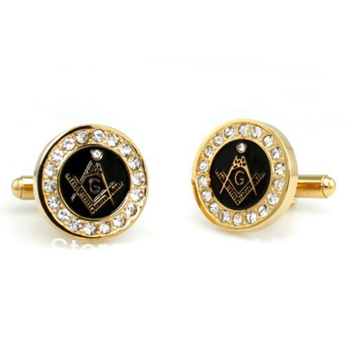 2PCS Free Shipping YGK JEWELRY Hot Sales Golden Two-Tone Stainless Steel Masonic Men's CuffLinks Cubic Zirconia