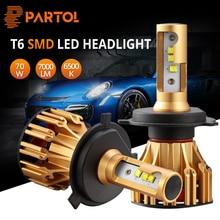 Partol H4 H7 H11 9005 9006 светодио дный лампы фар автомобиля светодио дный фар SMD C Здравствуйте ps Здравствуйте-Lo ширина 70 Вт 7000LM 6500 К 12 В 24 В для бездорожья 4×4